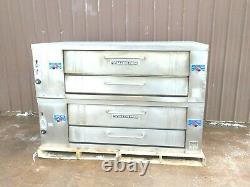 2 Bakers Pride Y 600 Natural Deck Gas Double Pizza Ovens New Stones And Legs