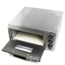 2000W Fire Stone Stainless Steel Electric Pizza Oven Single Deck Bread Toaster
