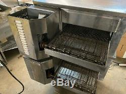 2004 Hobart HGC3018 Double Deck Stack Natural Gas Conveyor Pizza Ovens