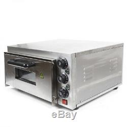 2KW 110V Commercial Single Deck Stainless Steel Electric Pizza Bread Baking Oven
