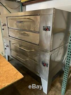 Bakers Pride Y602 Double-Stacked Gas Pizza Deck Ovens 60 Deck Refurbished