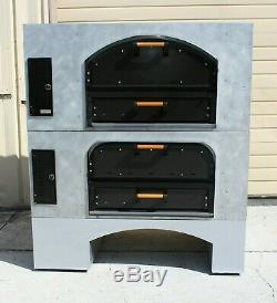 Brick Lined Gas Double Deck Stacked Pizza Ovens Marsal & Sons MB-42 NICE