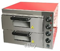 Commercial Baking Oven Fire Stone Electric Pizza Oven 2 x 16 Twin Deck