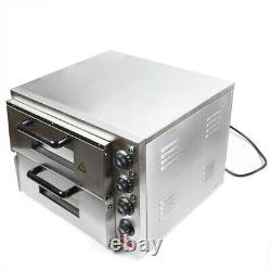 Double Deck Electric 3000W Pizza Oven Stainless Steel Ceramic Stone Kitchen Tool