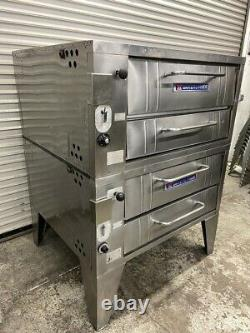 Double Stack Stone Deck Gas Pizza Ovens Bakers Pride 251 Bakery Bread #5055