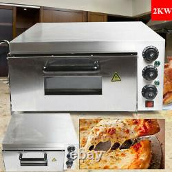 Electric 2000W Pizza Oven 1 Deck Stainless Steel Ceramic Stone Fire Stone Oven