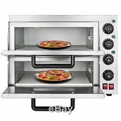 Electric 3000W Pizza Oven Double Deck Bakery 110V Restaurant Bake Broiler