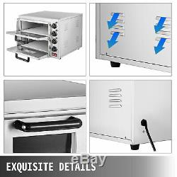 Electric 3000W Pizza Oven Double Deck Bakery Fire Stone Restaurant