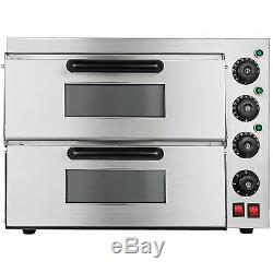 Electric 3000W Pizza Oven Double Deck Bakery Fire Stone Restaurant POPULAR