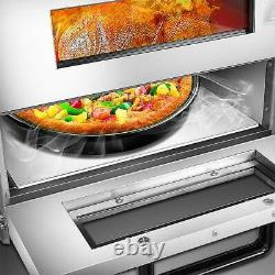 Electric 3000W Pizza Oven Double Deck Commercial Stainless Steel Bake Broiler US