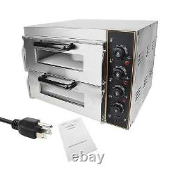 Electric 3000W Pizza Oven Double Deck Commercial Toaster Bake Broiler Oven NEW