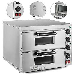 Electric 3000W Pizza Oven Double Deck Stainless Steel Baking Oven Rotisserie