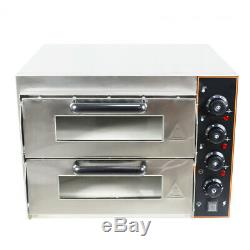 Electric PIZZA Oven Twin Deck Commercial Baking Oven Fire Stone Catering 3KW