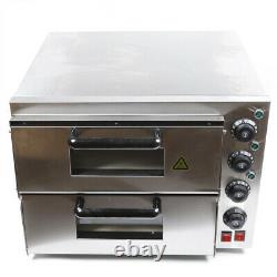 Electric Pizza Oven 3000W Double Deck Countertop Bake Oven For Bakery Restaurant