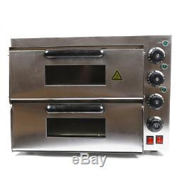 Home Pizza Oven Stainless Steel Counter Top Snack Pan Bake Commercial Dual Deck