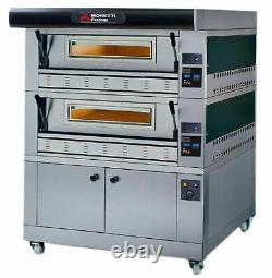 MORETTI FORNI P110G A2 GAS PIZZA OVEN P110G 44x29x7 2 DECKS WITH TRAY GUIDE BASE