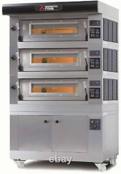 Moretti Forni Amalfi B3 Electric Pizza Oven Chamber 3 Decks With Tray Guide Base