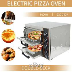 New Commercial Baking Oven Fire Stone Electric Pizza Oven 2 x 16Twin Deck