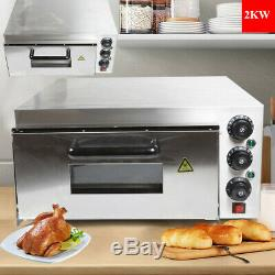 Single Deck Electric 2KW Pizza Oven Ceramic Stone Toaster Baking Bread 110V NEW