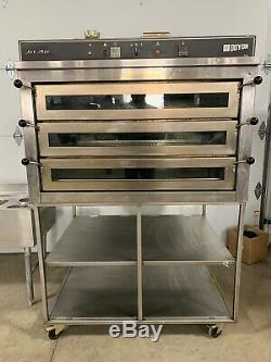 Used Doyon PIZ6G Natural Gas 3 Deck Pizza Oven with Stand