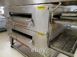 Xlt-3270-ts Double Deck Conveyor Pizza Ovens Nat Gas By Bofi Top Deck Has Split